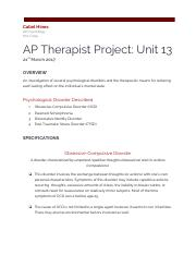 AP Therapist Project Unit 13
