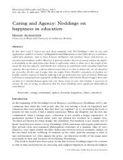 Caring and Agency