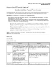 health care financial terms worksheet week one assignment week one. Black Bedroom Furniture Sets. Home Design Ideas