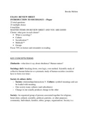 Sociology EXAM 1 REVIEW SHEET