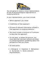 You are going to create a visual representation of one of the psychological approaches to studying b