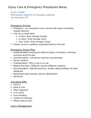 Injury Care & Emergency Procedures Notes