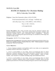 Math 221 Term 1004 syllabus