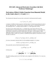 Derivation of Black Scholes Equation from Binomial Model