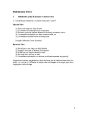 Lecture Notes - SIMON FRASER  ECON290 Stabilization Policy (1)