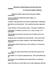 ADHD In Preschool Aged Children