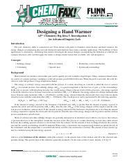 hand warmer lab calculations