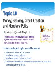 Ss L Topic 10 W11 Money  Banking