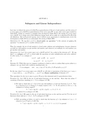 Lecture Notes on Linear Dependence and Linear Independence