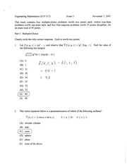 exam 3 fall 2007 solutions