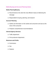 Media Buying and Account Planning Notes