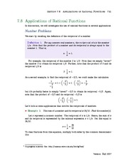 Section 8: Applications of Rational Functions