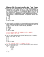 Sample Questions and Solutions for Final Exam