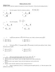 Honors Algebra 2-Midterm Review Sheet-Spring 2012