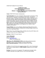Syllabus, COM 270-007, Fall Term 2010-2011