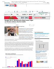 Budget 2018_ Budget 2018_ PM Narendra Modi trains sight on farmers before election battle - The Econ