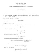 Hypothesis Tests of ML and GMM Estimation