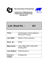 LabSheet--421--FamiliarizationOfSomeMaterialRemovalProcesses