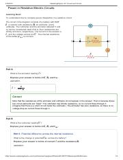 Online Assignment 3 on Power in Resistive Electric Circuits