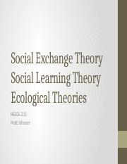 Social Exchange Theory, Social Learning Theory, and Ecological Theories