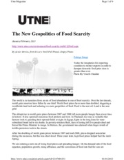 The New Geopolitics of Food Scarcity