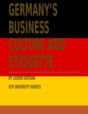 Germany's Business Cul ture and Etiquette