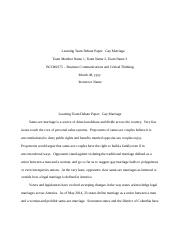 BCOM 275 Team C FINAL Paper - Gay Marriage