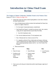 Introduction to China Final Exam Review