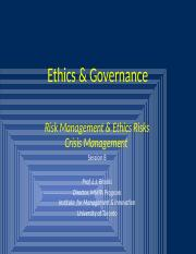 Ethics & Governance  Session 8 - Risk and Crisis Management.pptx