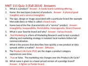 MKT 111 Quiz 3 Answers (Fall 2014)