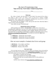 Food chain lesson plan workout 1