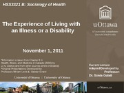 LECTURE 7 - Experience of Living with Illness or Disability