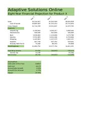 Acct 748- 8 year financial projections