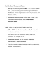Activity Based Management Notes