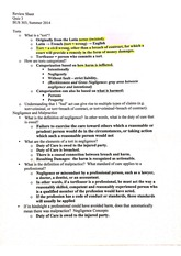 bus 303 quiz 3 review sheet on torts