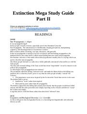 Extinction Mega Study Guide Part II