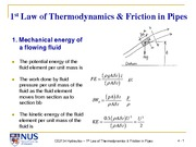 CE2134 (AY2012) 4. 1st Law of Thermodynamics & Friction in Pipes