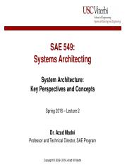 Lecture 2 - Systems Architecture Key Perspectives and Concepts