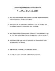 in class---new 2013 Spirituality Self Reflection Worksheet