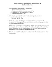 Prelab Questions - Demonstration of the Nernst Equation 2015