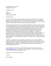 Pearson Proposal Writing Position Cover Letter