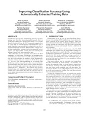 Improving Classification Accuracy Using Automatically Extracted Training Data