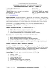 Analytical Methods in Finance Syllabus 4.0 Spring 2011 012411