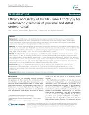 Efficacy and safety of Ho-YAG Laser Lithotripsy for ureteroscopic removal of proximal and distal ure