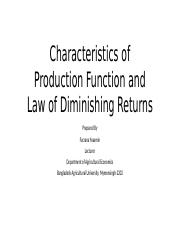 Characteristics of Production Function and Law of Diminishing.pptx