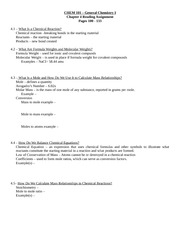 CHEM 101 – General Chemistry I Chapter 4 Reading Assignment Pages 100 - 133