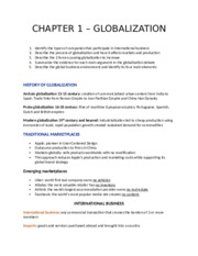 CHAPTER 1 – GLOBALIZATION