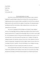 Lord of the Flies in class essay