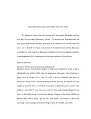 rev Classroom Observation and Teacher Interview Paper