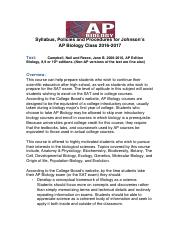 Syllabus and Procedures  with lab contract for Johnson's  AP Bio Class
